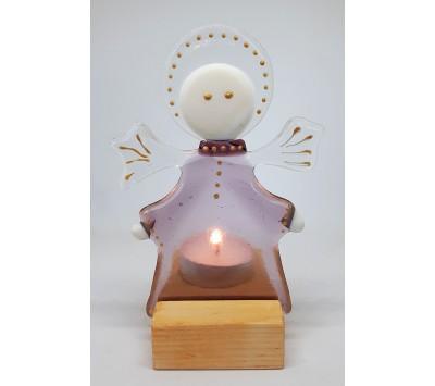 Поставка за чаена свещ - Розово ангелче