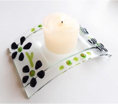 Поставка за свещ - Лилави цветя